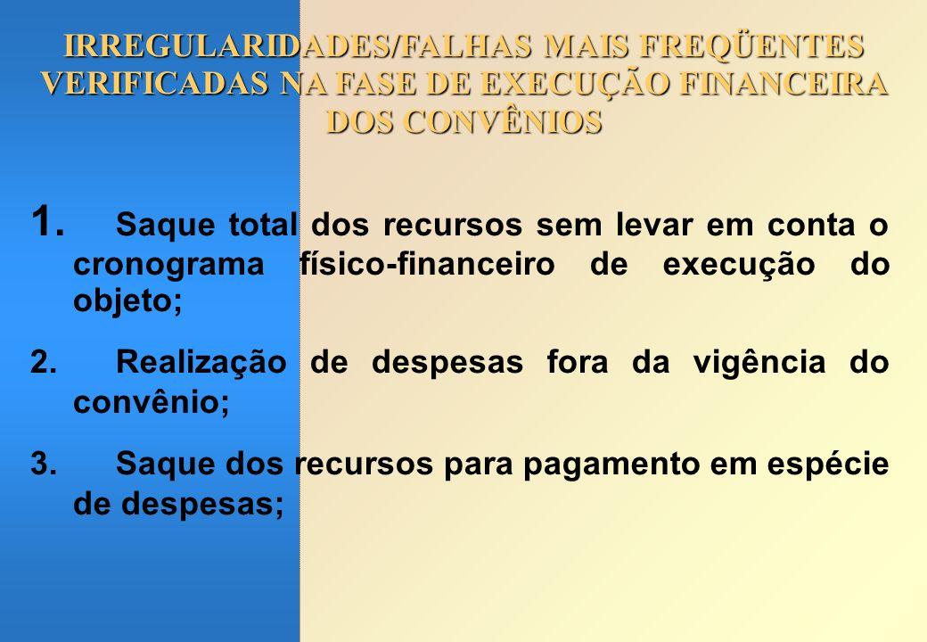 IRREGULARIDADES/FALHAS MAIS FREQÜENTES VERIFICADAS NA FASE DE EXECUÇÃO FINANCEIRA DOS CONVÊNIOS