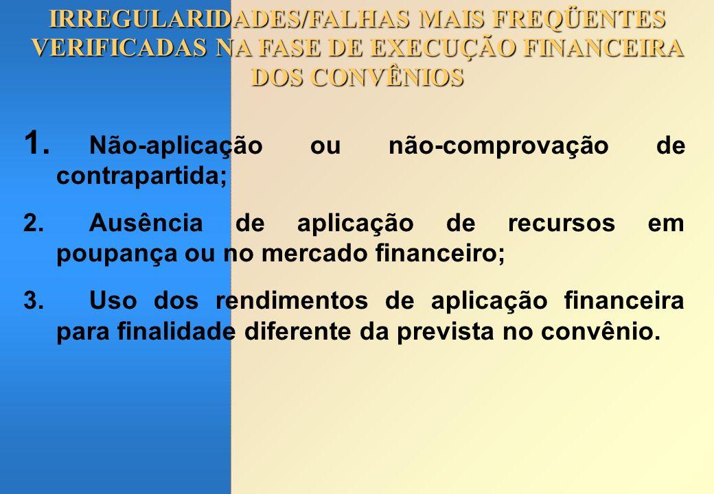 Não-aplicação ou não-comprovação de contrapartida;