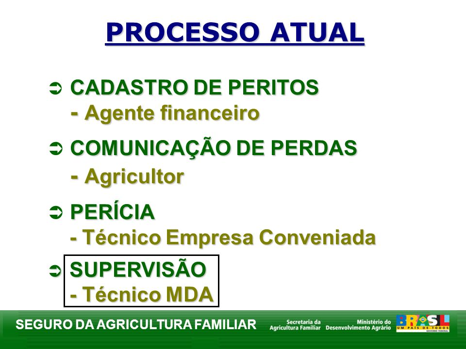 PROCESSO ATUAL CADASTRO DE PERITOS - Agente financeiro