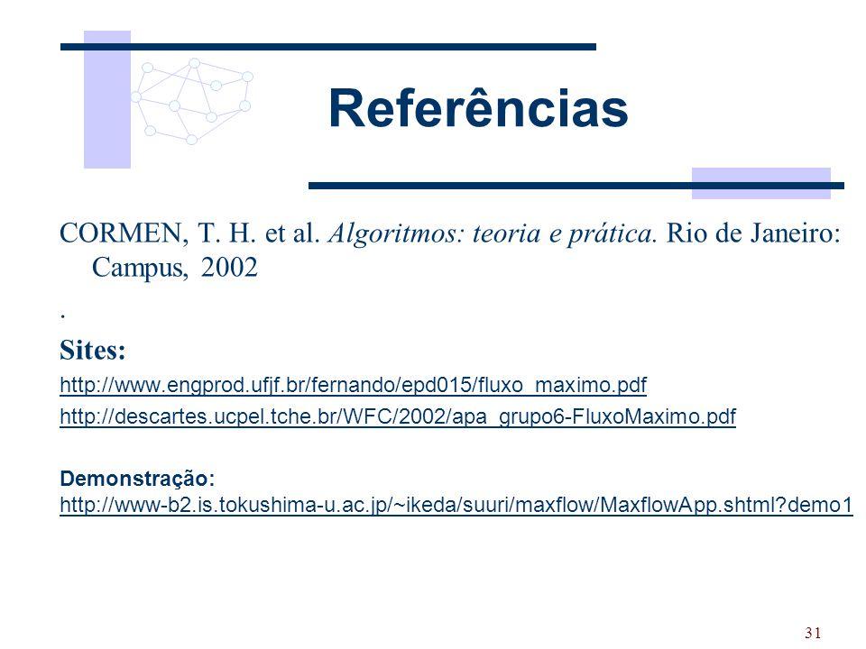 Referências CORMEN, T. H. et al. Algoritmos: teoria e prática. Rio de Janeiro: Campus, 2002. . Sites: