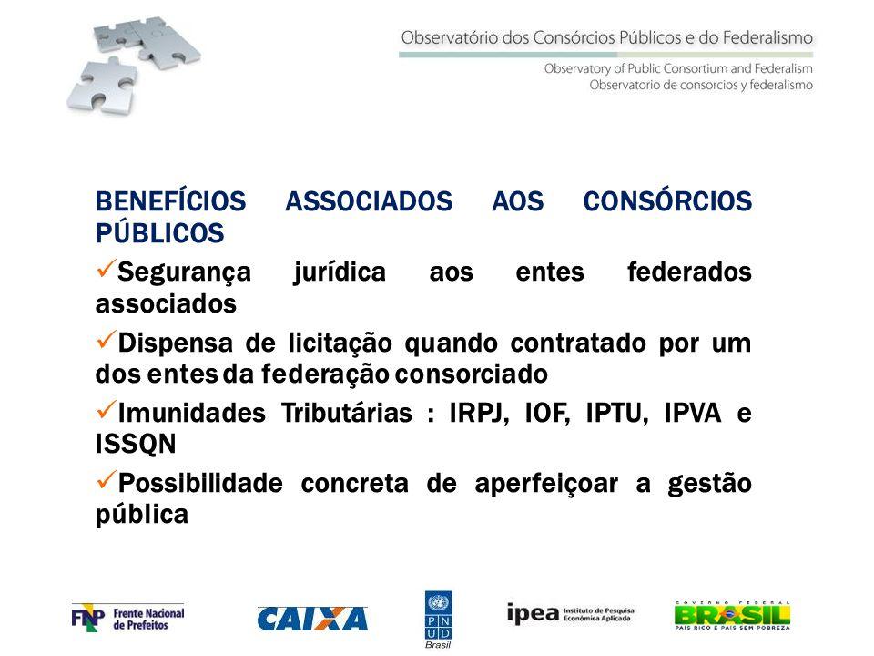 BENEFÍCIOS ASSOCIADOS AOS CONSÓRCIOS PÚBLICOS