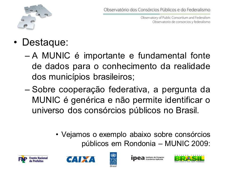 Destaque: A MUNIC é importante e fundamental fonte de dados para o conhecimento da realidade dos municípios brasileiros;