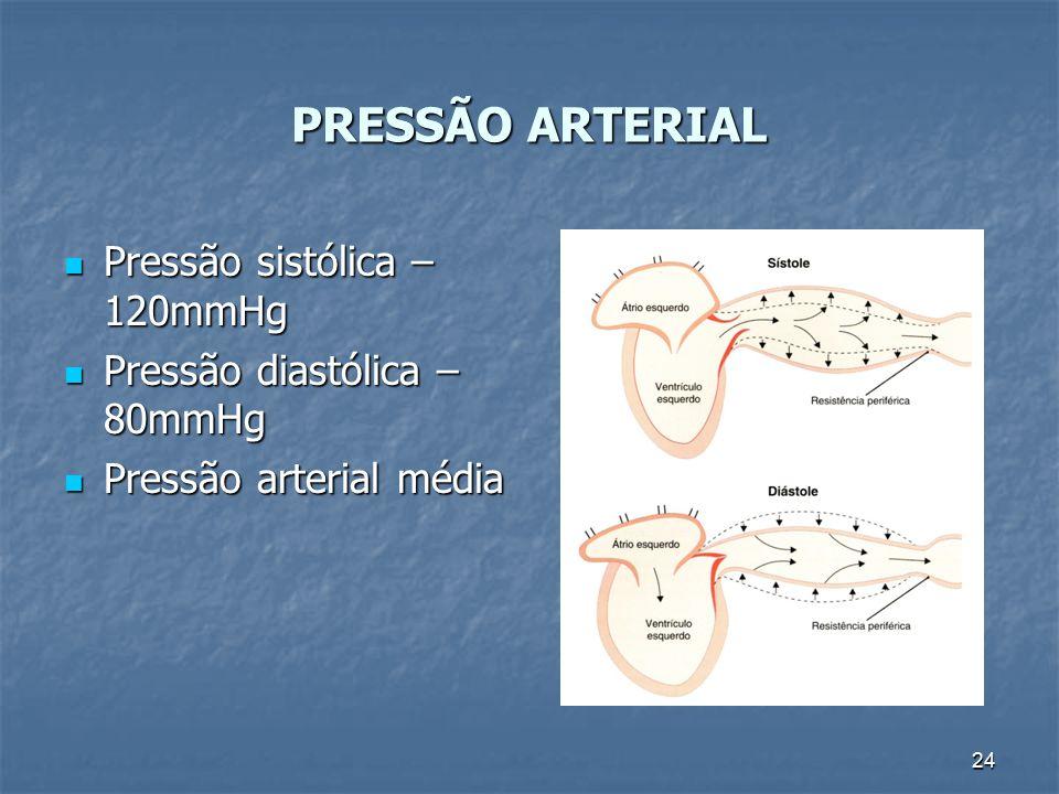 PRESSÃO ARTERIAL Pressão sistólica – 120mmHg