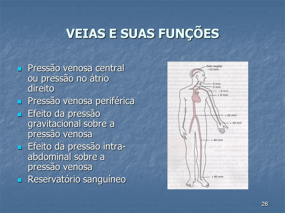 VEIAS E SUAS FUNÇÕES Pressão venosa central ou pressão no átrio direito. Pressão venosa periférica.