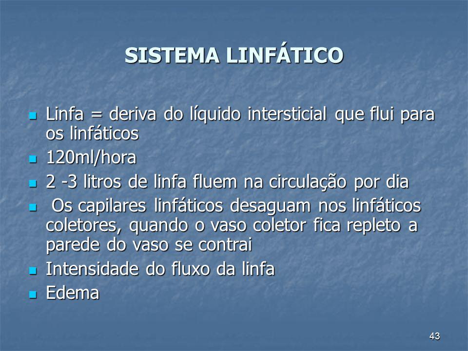 SISTEMA LINFÁTICO Linfa = deriva do líquido intersticial que flui para os linfáticos. 120ml/hora. 2 -3 litros de linfa fluem na circulação por dia.