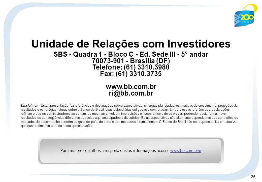 Unidade de Relações com Investidores