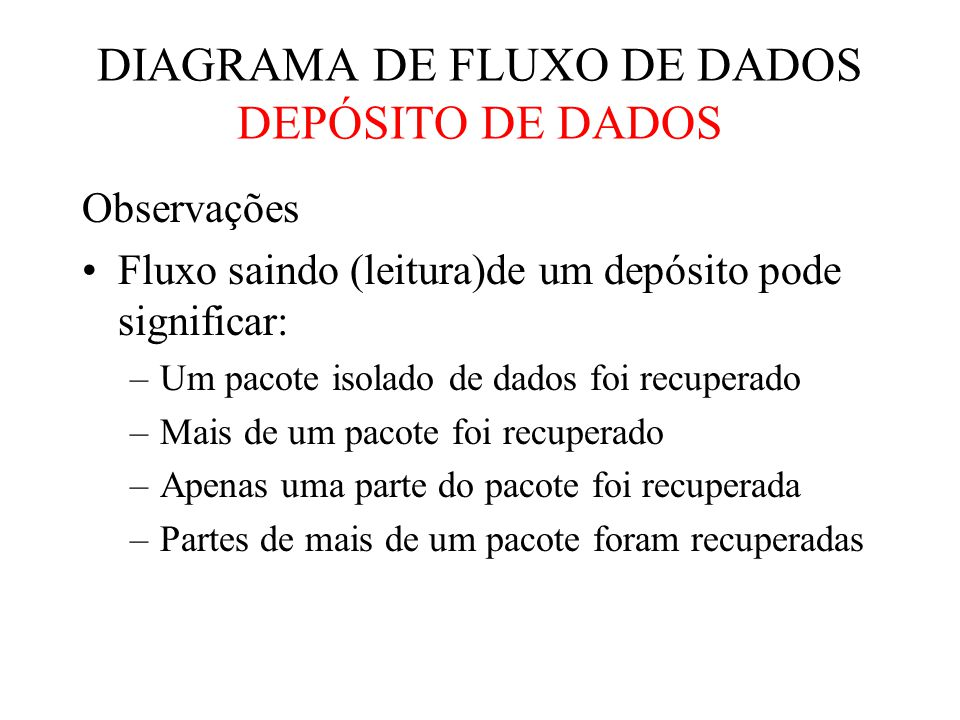 DIAGRAMA DE FLUXO DE DADOS DEPÓSITO DE DADOS