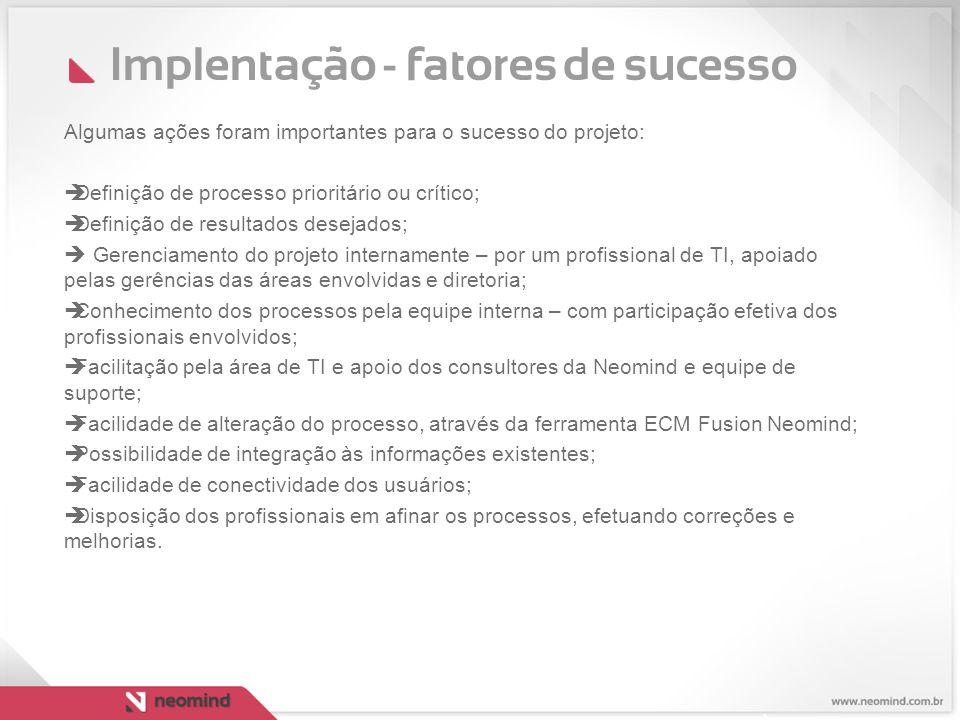 Implentação - fatores de sucesso