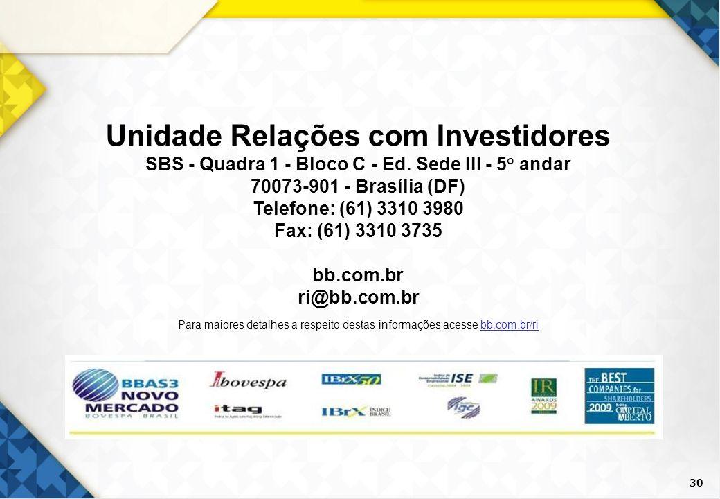 Unidade Relações com Investidores