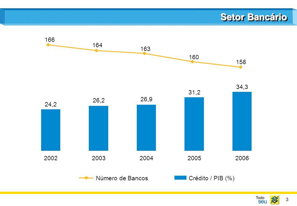 Setor Bancário166. 164. 163. 160. 158. 34,3. 31,2. 26,2. 26,9. 24,2. 2002. 2003. 2004. 2005. 2006. Número de Bancos.