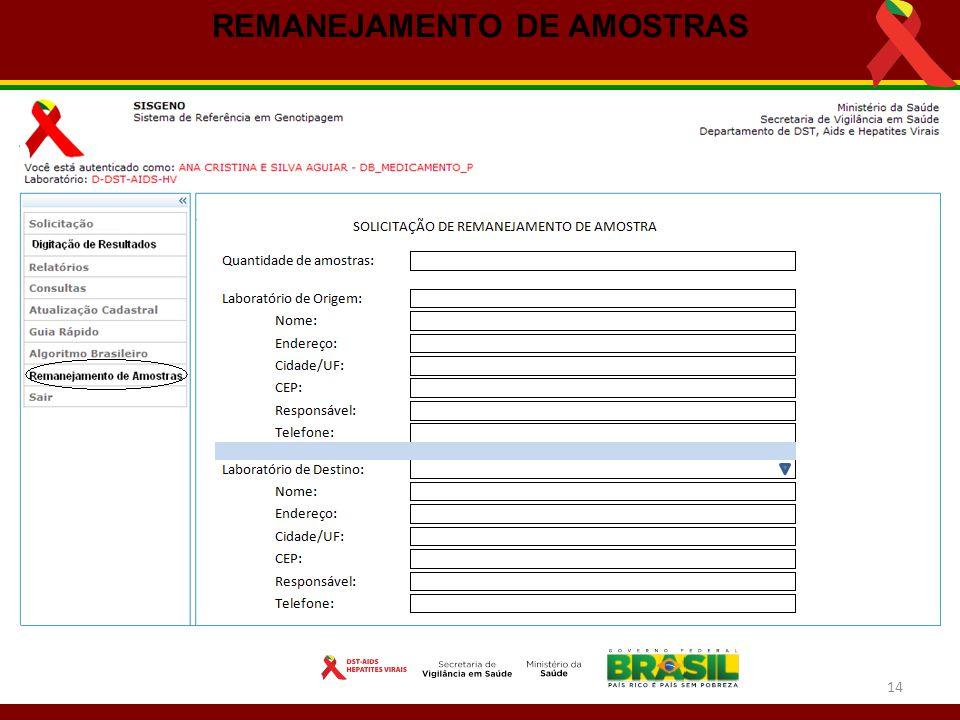 REMANEJAMENTO DE AMOSTRAS