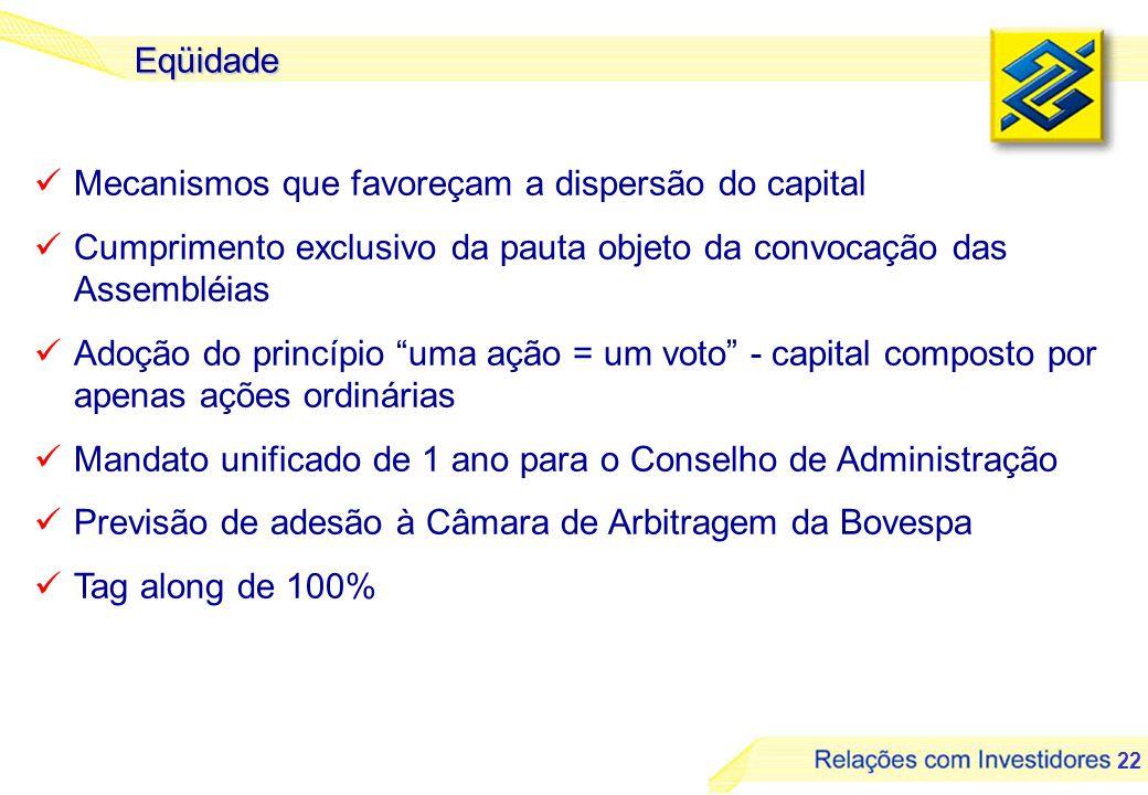 Eqüidade Mecanismos que favoreçam a dispersão do capital. Cumprimento exclusivo da pauta objeto da convocação das Assembléias.