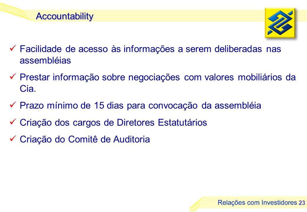 Accountability Facilidade de acesso às informações a serem deliberadas nas assembléias.