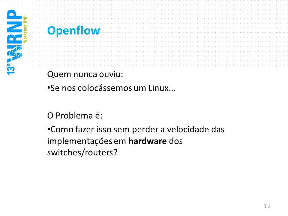 Openflow Quem nunca ouviu: Se nos colocássemos um Linux...
