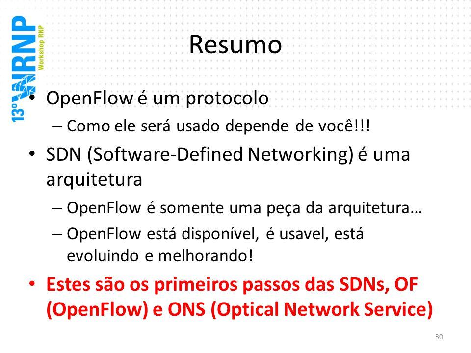 Resumo OpenFlow é um protocolo
