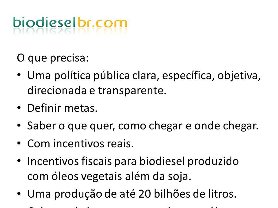 O que precisa:Uma política pública clara, específica, objetiva, direcionada e transparente. Definir metas.