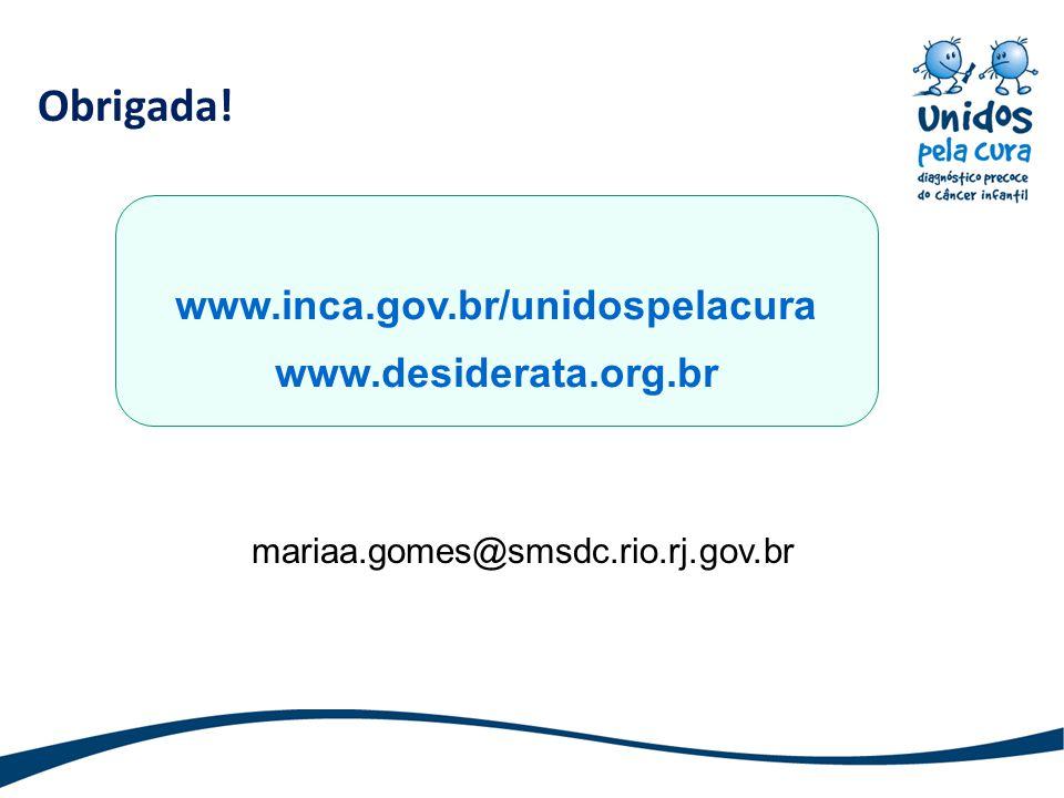 Obrigada! www.inca.gov.br/unidospelacura www.desiderata.org.br