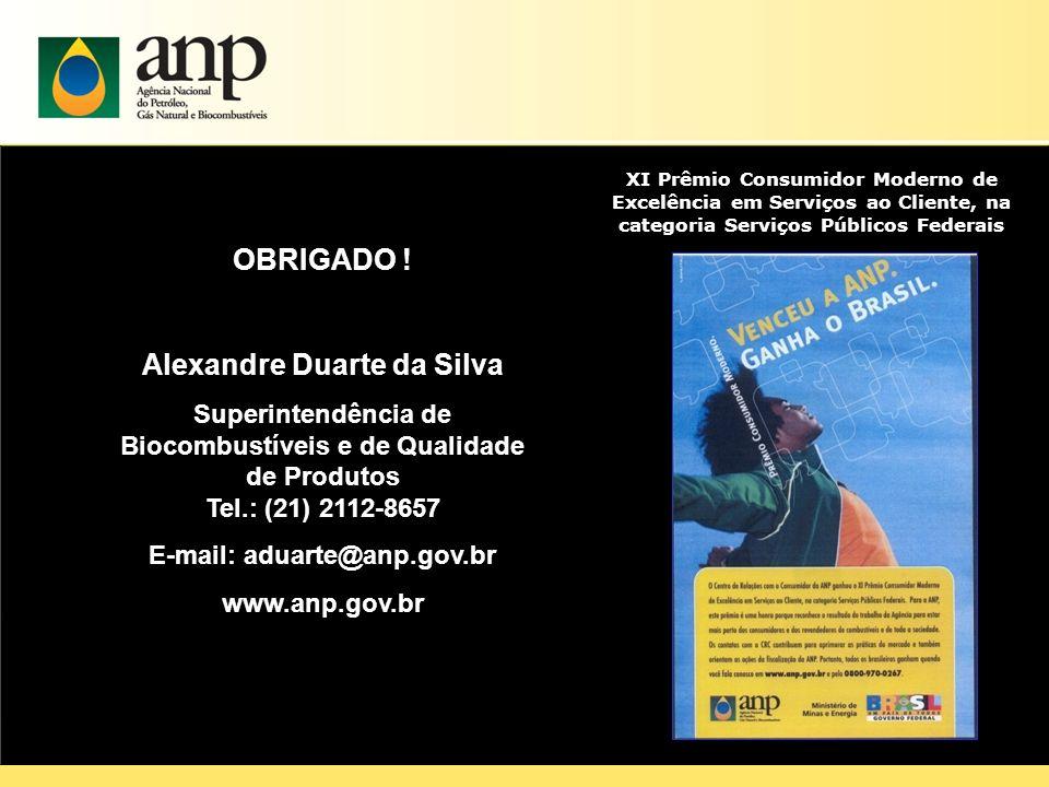 OBRIGADO ! Alexandre Duarte da Silva E-mail: aduarte@anp.gov.br