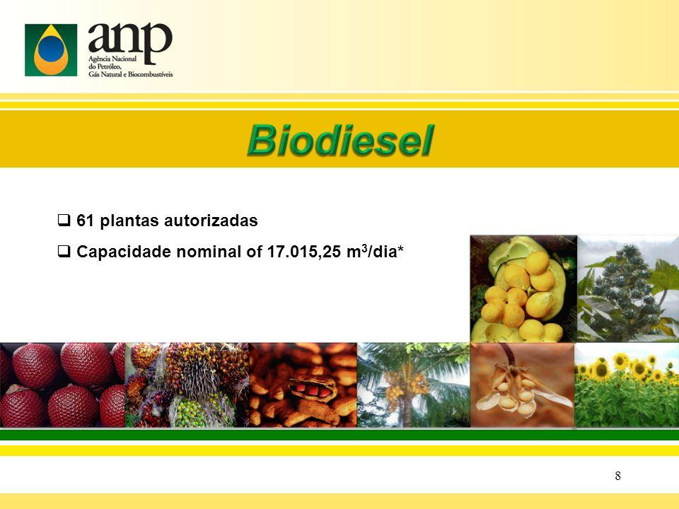 Biodiesel 61 plantas autorizadas