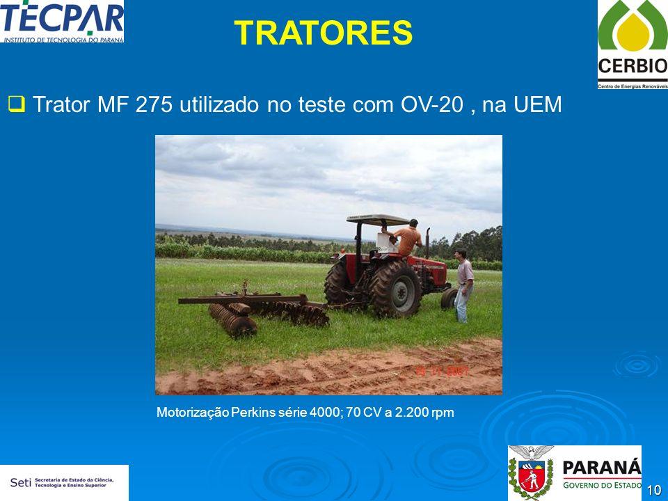 TRATORES Trator MF 275 utilizado no teste com OV-20 , na UEM