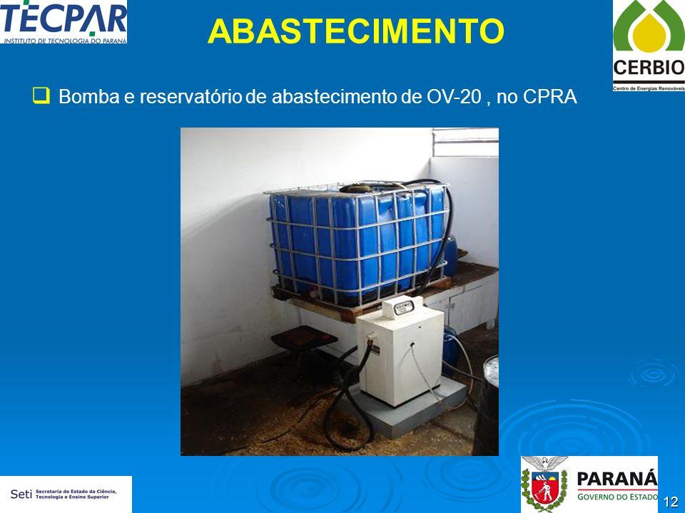 ABASTECIMENTO Bomba e reservatório de abastecimento de OV-20 , no CPRA