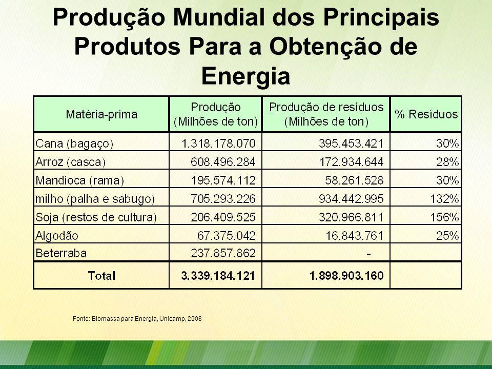 Produção Mundial dos Principais Produtos Para a Obtenção de Energia