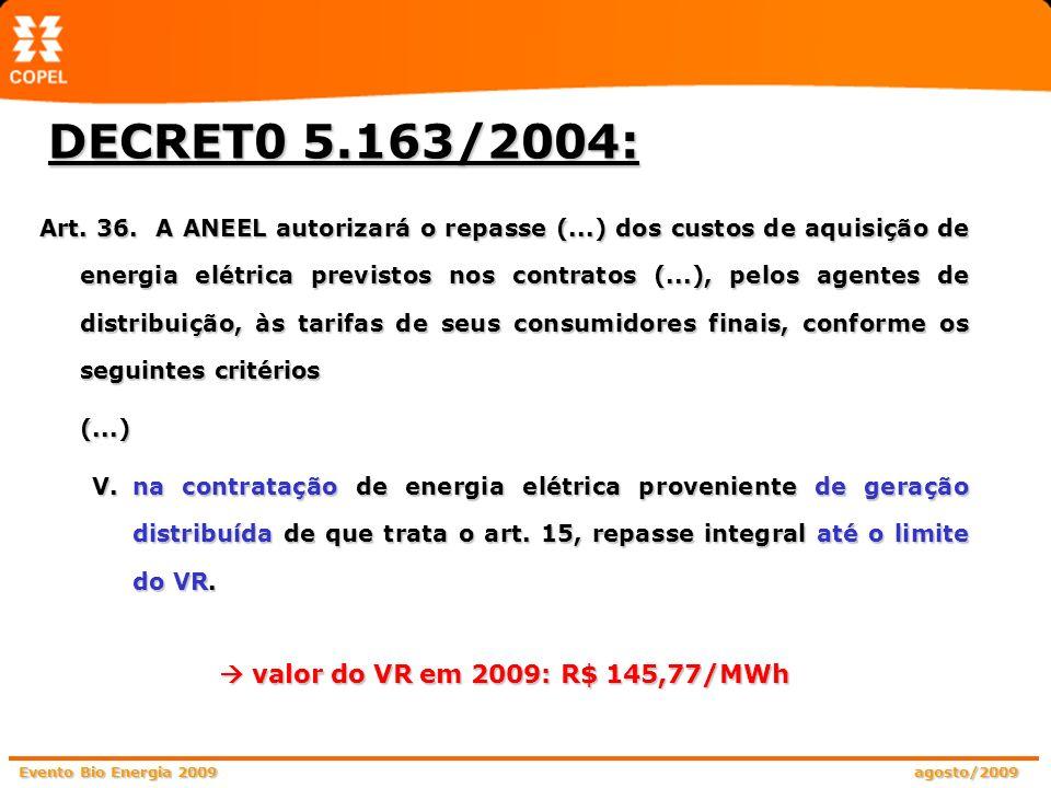 DECRET0 5.163/2004:  valor do VR em 2009: R$ 145,77/MWh