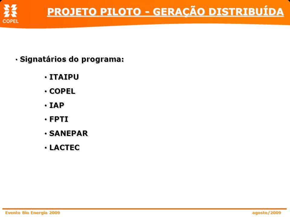 Signatários do programa: ITAIPU COPEL IAP FPTI SANEPAR LACTEC