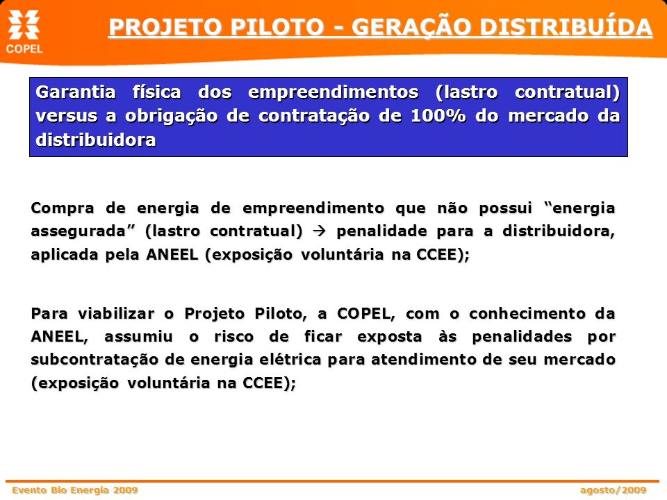 PROJETO PILOTO - GERAÇÃO DISTRIBUÍDA