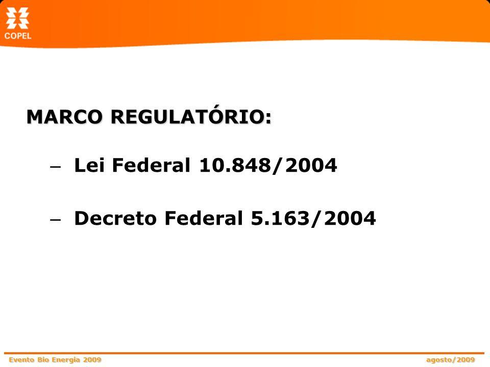 MARCO REGULATÓRIO: Lei Federal 10.848/2004 Decreto Federal 5.163/2004