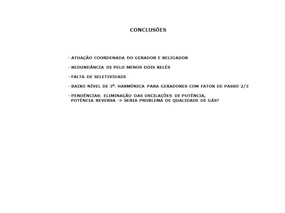 CONCLUSÕES ATUAÇÃO COORDENADA DO GERADOR E RELIGADOR