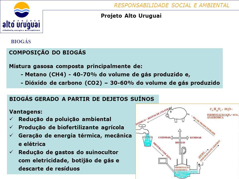 Projeto Alto Uruguai BIOGÁS. COMPOSIÇÃO DO BIOGÁS. Mistura gasosa composta principalmente de: