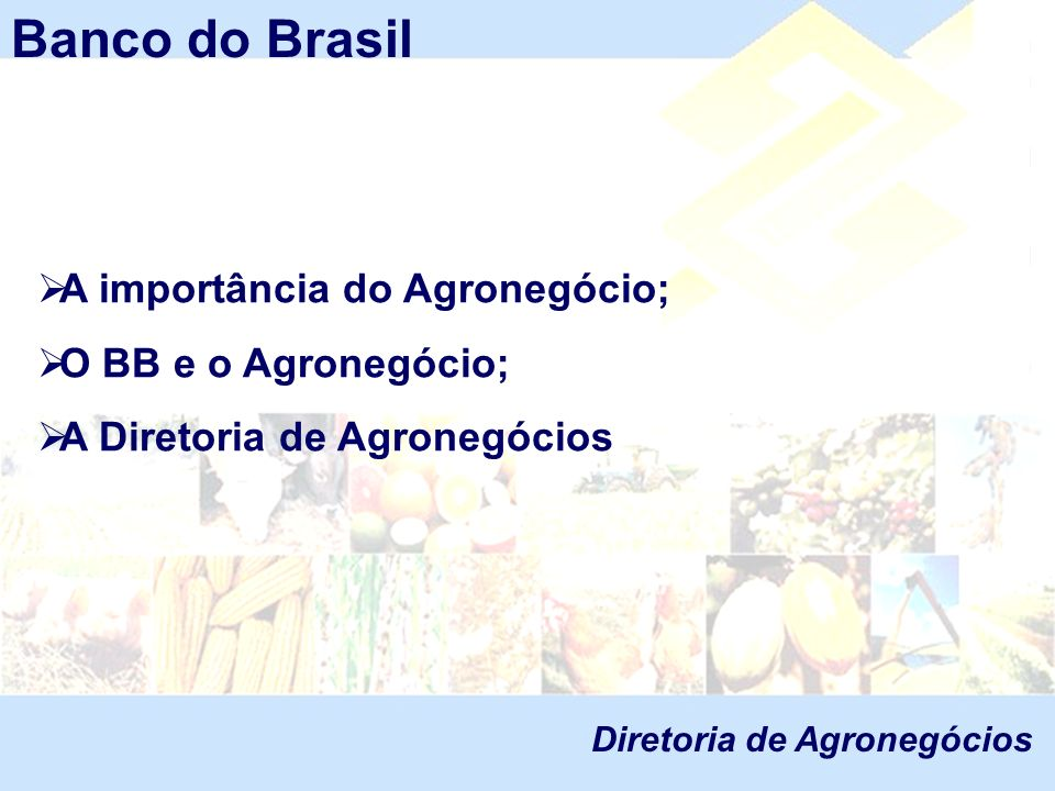 Banco do Brasil A importância do Agronegócio; O BB e o Agronegócio;