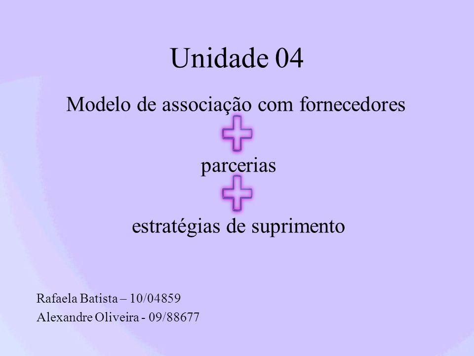 Unidade 04 Modelo de associação com fornecedores parcerias