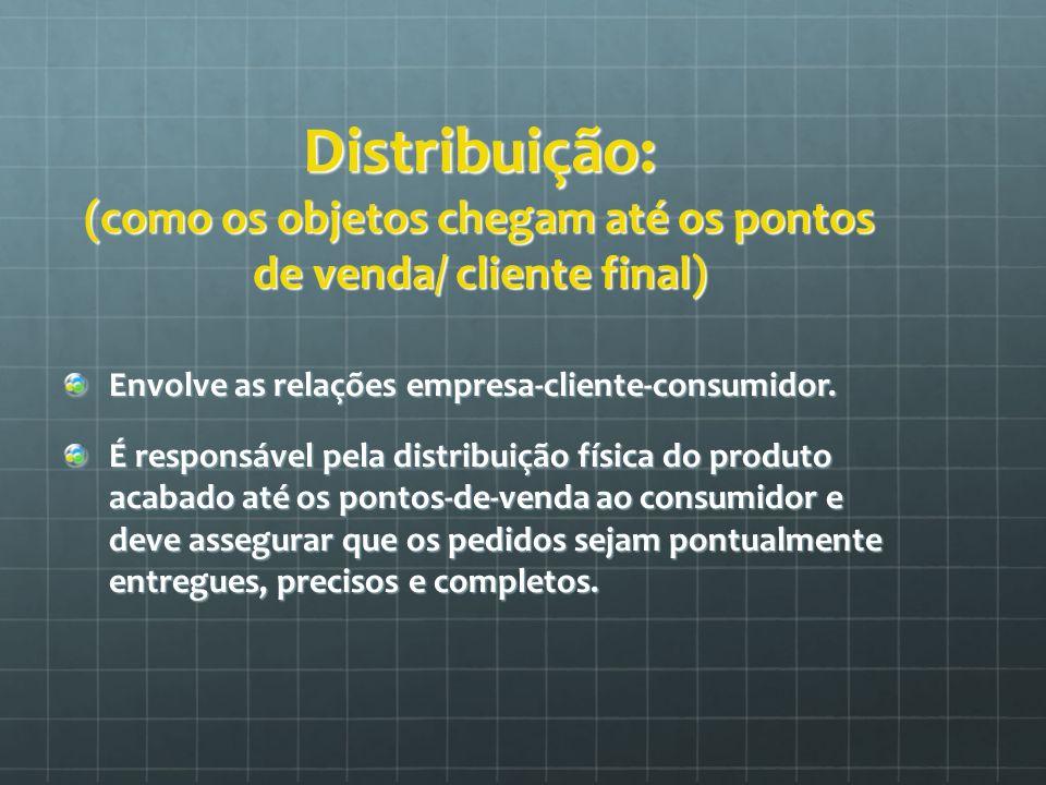 Distribuição: (como os objetos chegam até os pontos de venda/ cliente final)