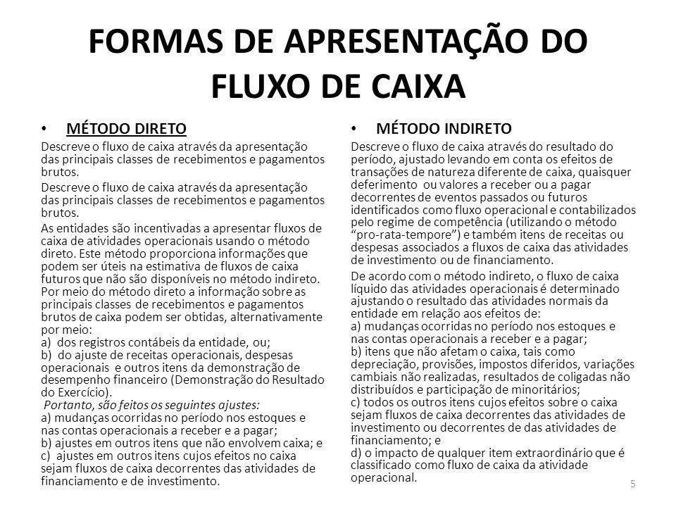 FORMAS DE APRESENTAÇÃO DO FLUXO DE CAIXA