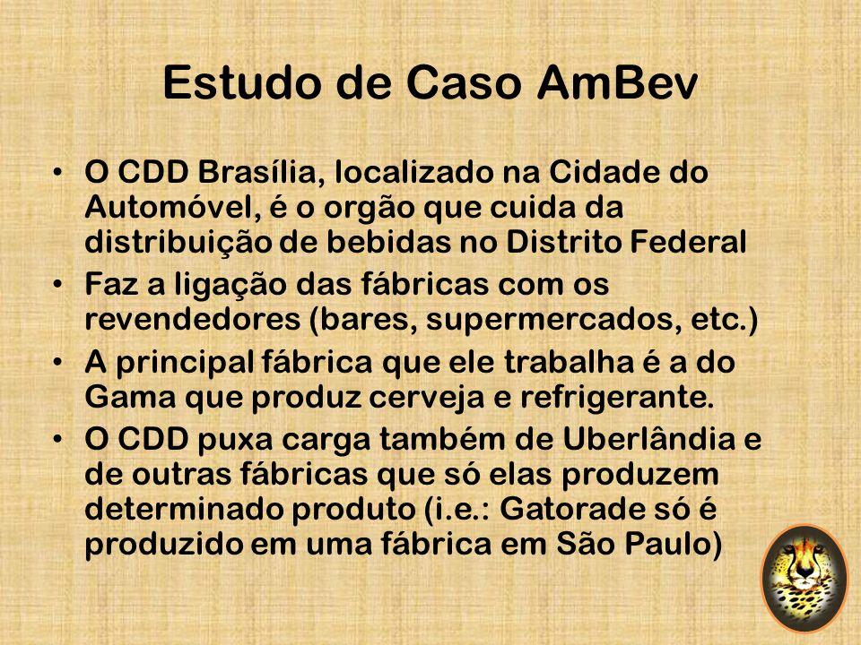 Estudo de Caso AmBev O CDD Brasília, localizado na Cidade do Automóvel, é o orgão que cuida da distribuição de bebidas no Distrito Federal.