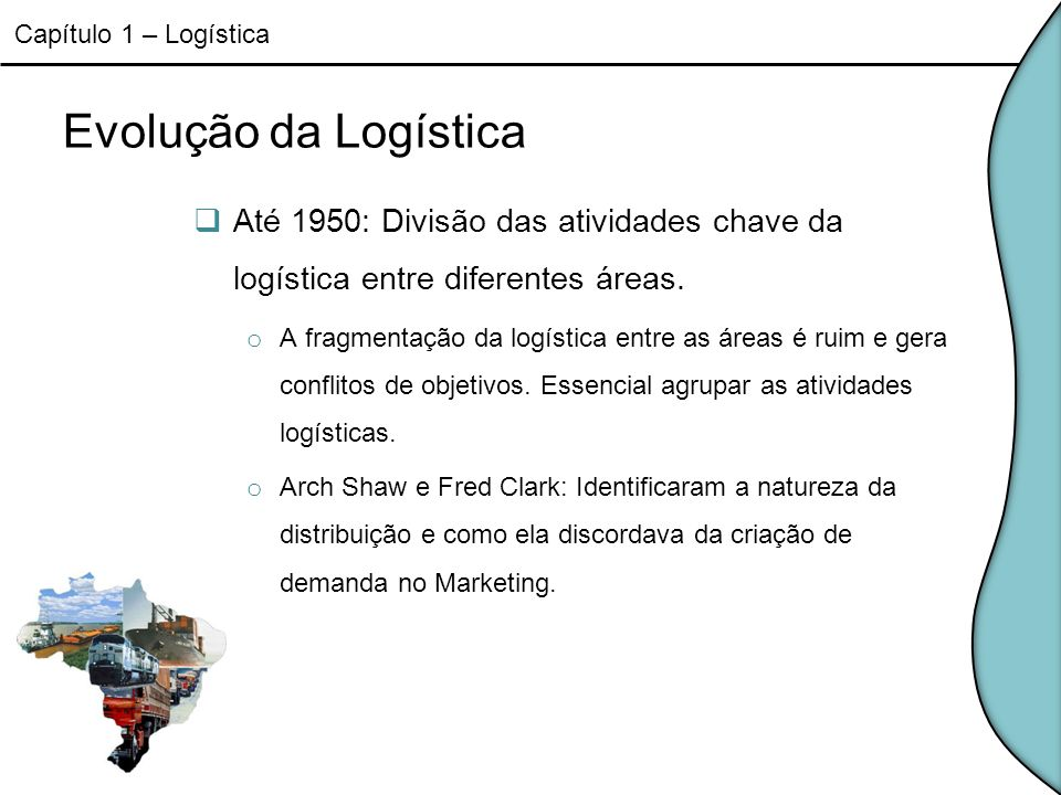 Capítulo 1 – Logística Evolução da Logística. Até 1950: Divisão das atividades chave da logística entre diferentes áreas.