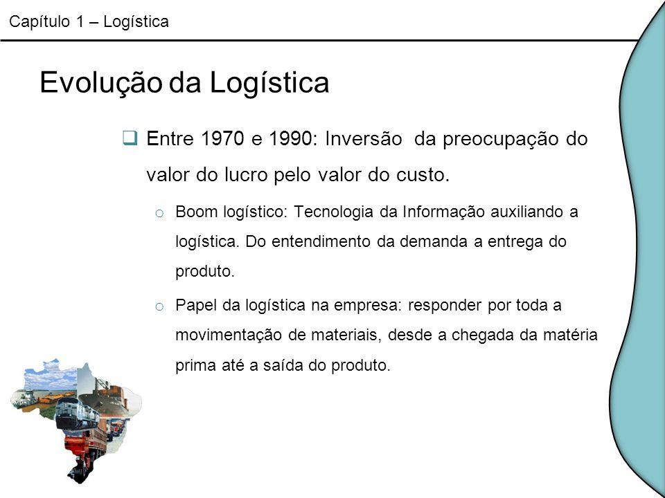 Capítulo 1 – LogísticaEvolução da Logística. Entre 1970 e 1990: Inversão da preocupação do valor do lucro pelo valor do custo.