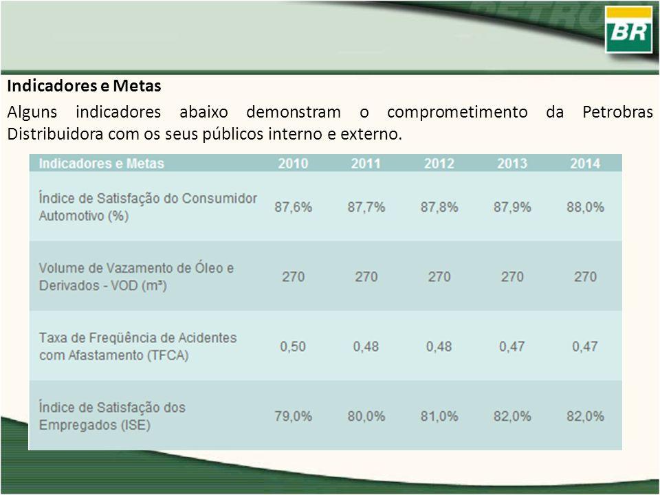 Indicadores e Metas Alguns indicadores abaixo demonstram o comprometimento da Petrobras Distribuidora com os seus públicos interno e externo.