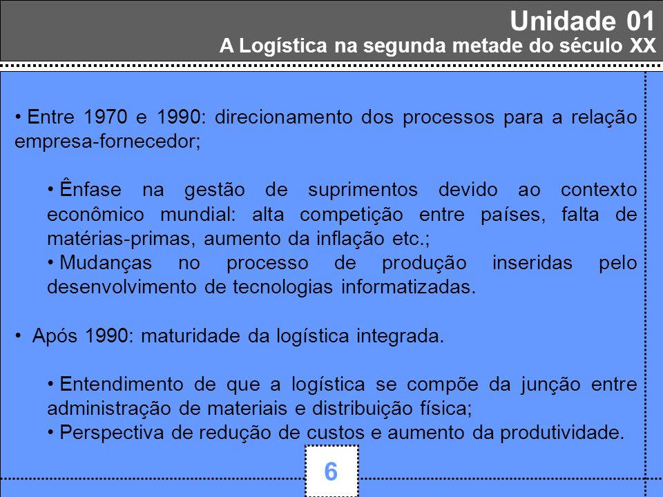 1 Unidade 01 6 A Logística na segunda metade do século XX