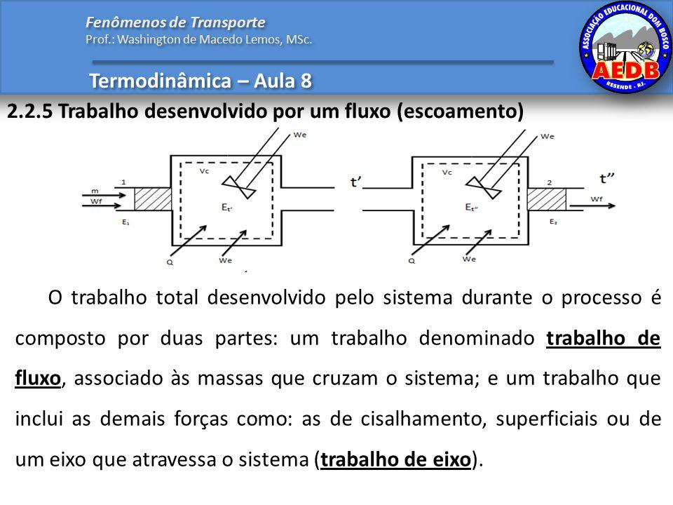2.2.5 Trabalho desenvolvido por um fluxo (escoamento)