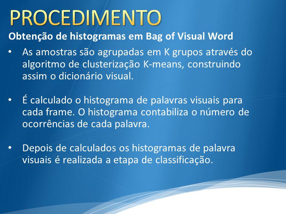 PROCEDIMENTO Obtenção de histogramas em Bag of Visual Word