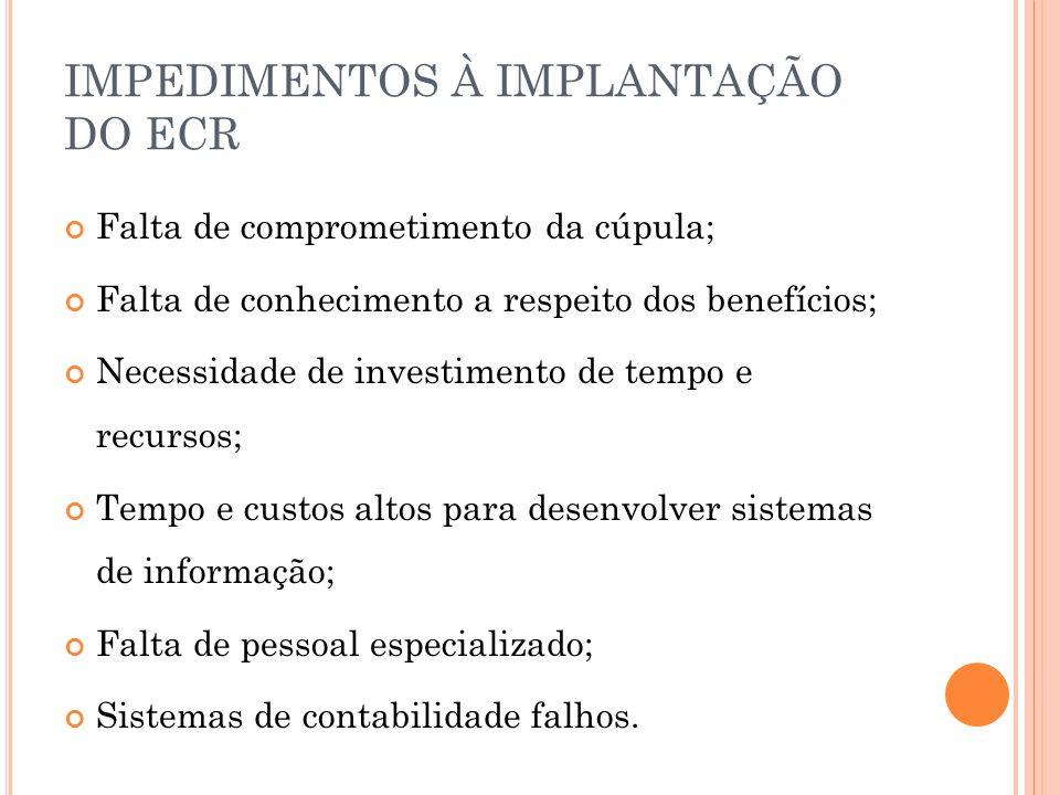 IMPEDIMENTOS À IMPLANTAÇÃO DO ECR