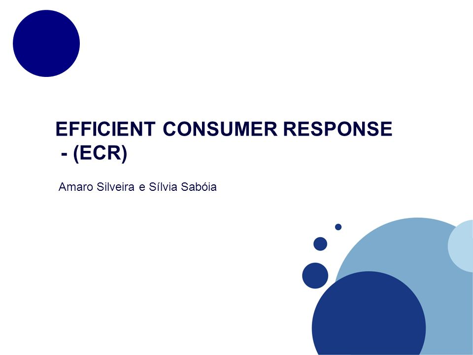 EFFICIENT CONSUMER RESPONSE - (ECR)