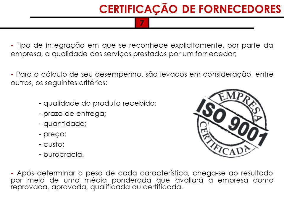 CERTIFICAÇÃO DE FORNECEDORES
