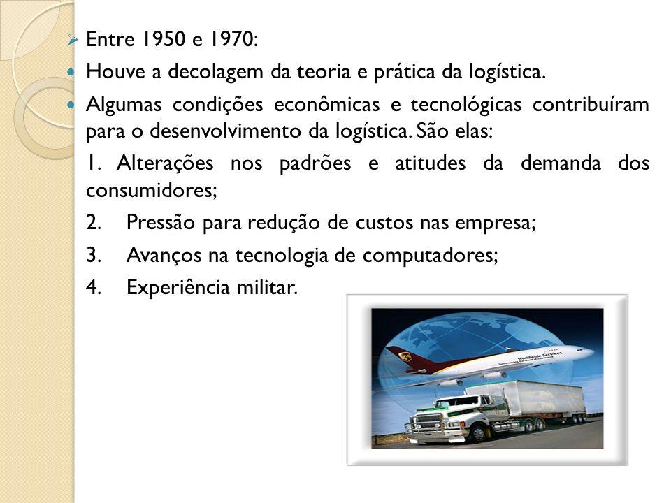 Entre 1950 e 1970: Houve a decolagem da teoria e prática da logística.