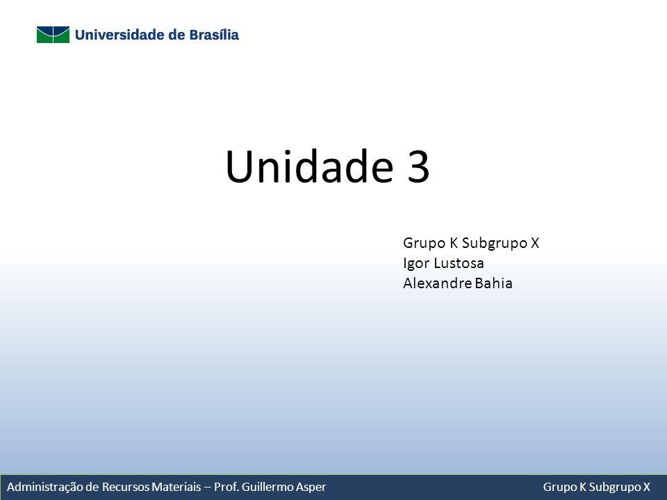 Unidade 3 Grupo K Subgrupo X Igor Lustosa Alexandre Bahia