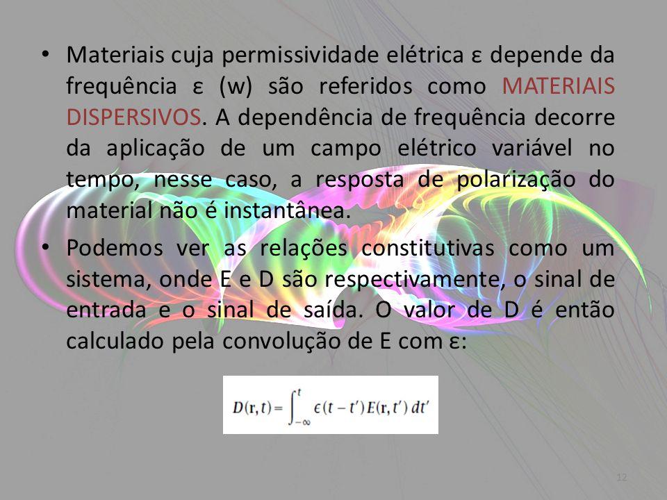 Materiais cuja permissividade elétrica ε depende da frequência ε (w) são referidos como MATERIAIS DISPERSIVOS. A dependência de frequência decorre da aplicação de um campo elétrico variável no tempo, nesse caso, a resposta de polarização do material não é instantânea.