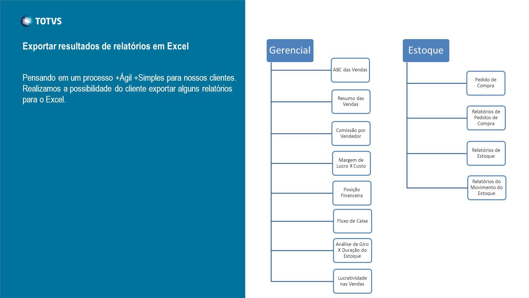 Estoque Gerencial Exportar resultados de relatórios em Excel
